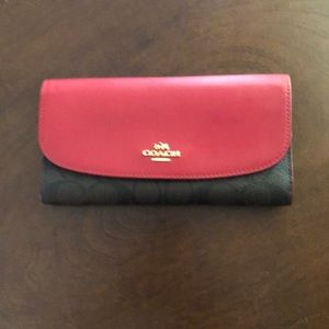 Coach Signature Checkbook Wallet Brown & True Red